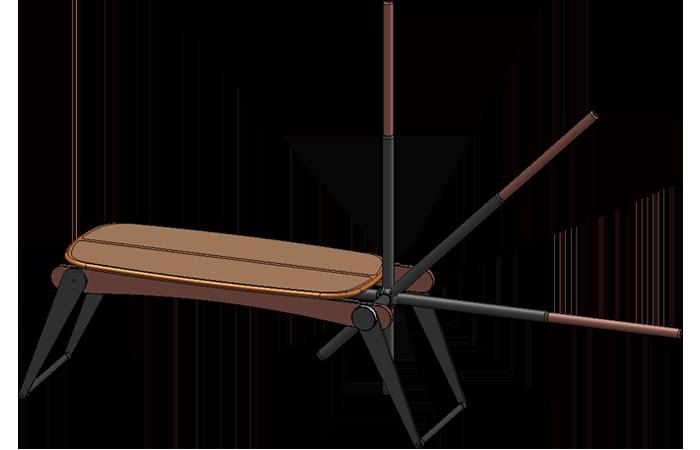 360° schwenkbar und stufenlos verstellbarer Zugstab der Kaiubank